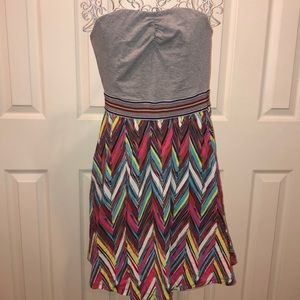Colorful Chevron Strapless Dress